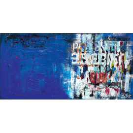 quadro astratto moderno con lettere blu