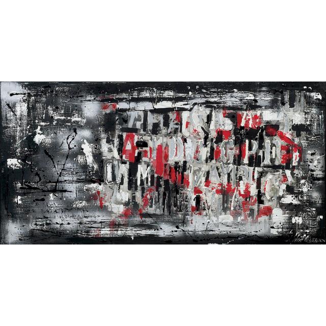 quadro astratto moderno con lettere nero
