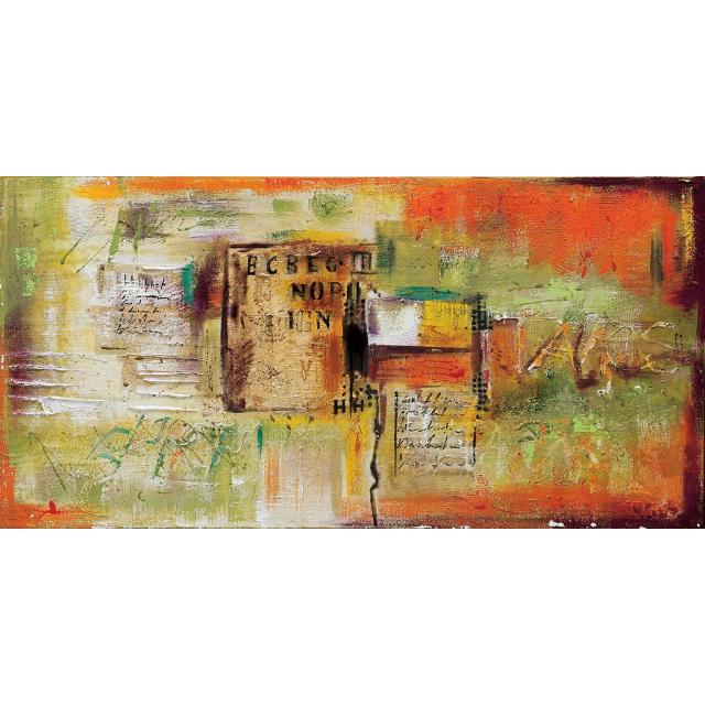 quadro astratto moderno con libro verde-arancio