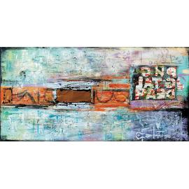 quadro astratto moderno con lettere rame