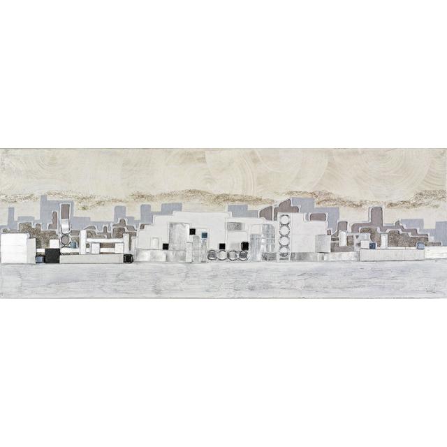 quadro città argento bianca