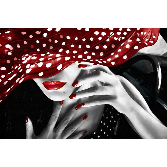 quadro donna con cappello a pois