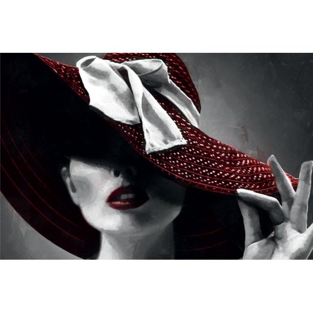quadro donna con cappello rosso