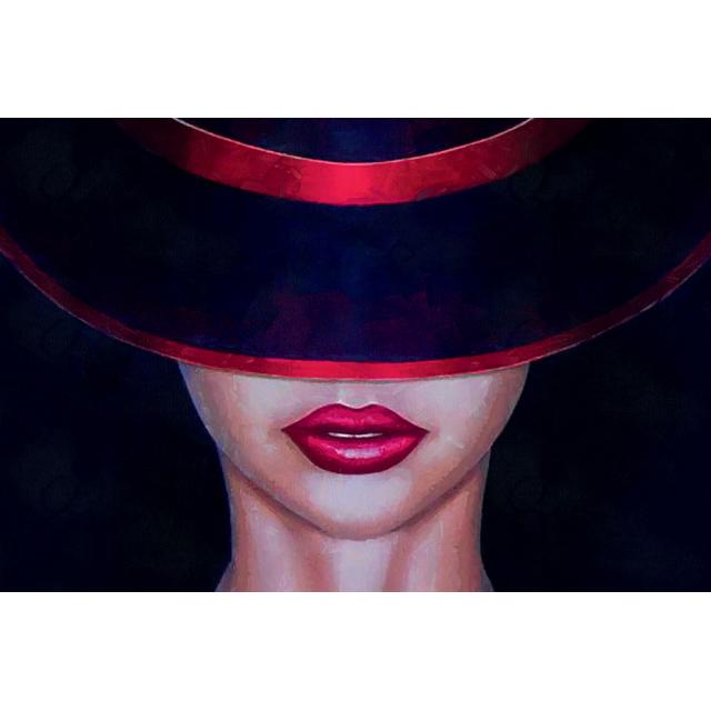 quadro volto con cappello e labbra rosse