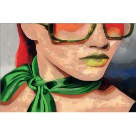 quadro donna con foulard verde