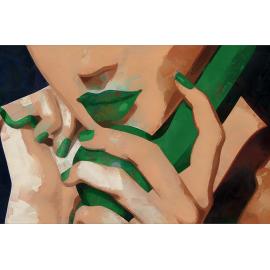 quadro donna con telefono verde