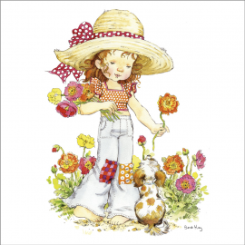 Svuotatasche Sarah Kay cappello fiore arancio
