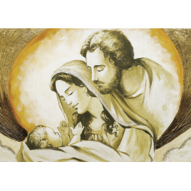 Sacra Famiglia nuvola oro media