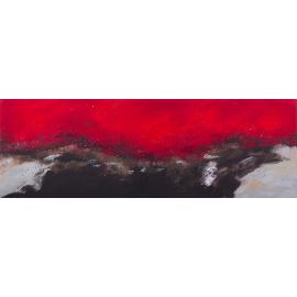 Dipinto astratto parole rosso