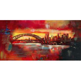 Dipinto astratto skyline Sidney ponte