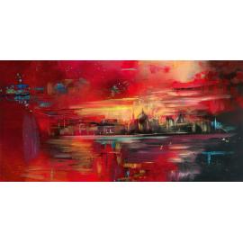 Opera materica skyline Venezia tramonto