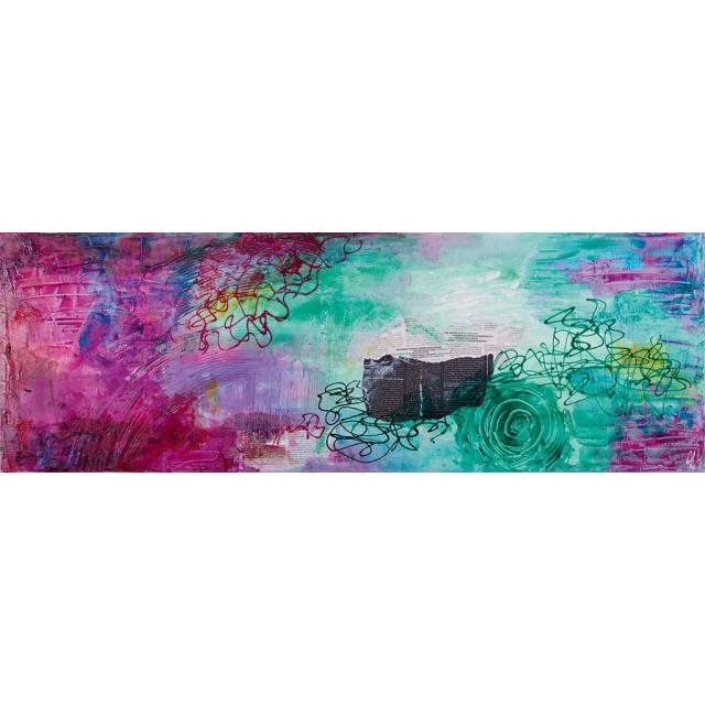 Opera materica rosa verde | Quadri astratti materici