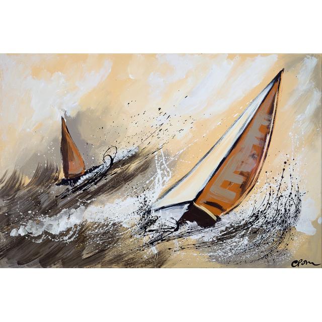 Dipinto astratto barche arancioni