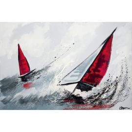Quadro astratto barche rosse