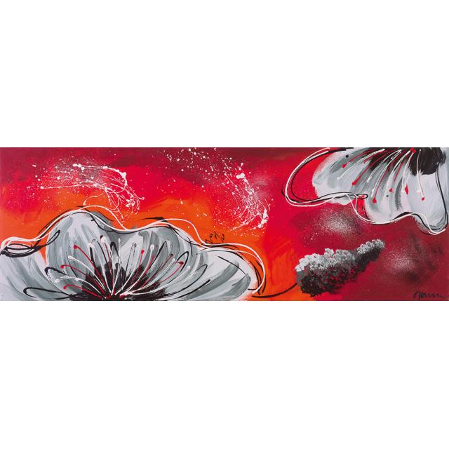 Fiori grigi fondo rosso