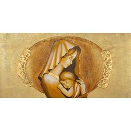 quadro Maternità materica in oro