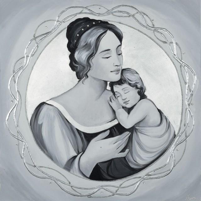 quadro Maternità in argento con merletto