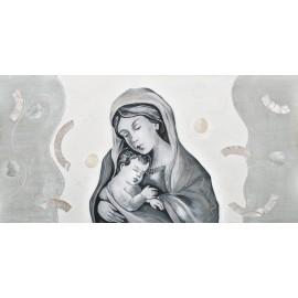 Quadro maternità cerchi bianchi decori a mano