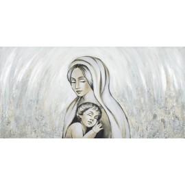 Quadro maternità su campo dorato decori a mano