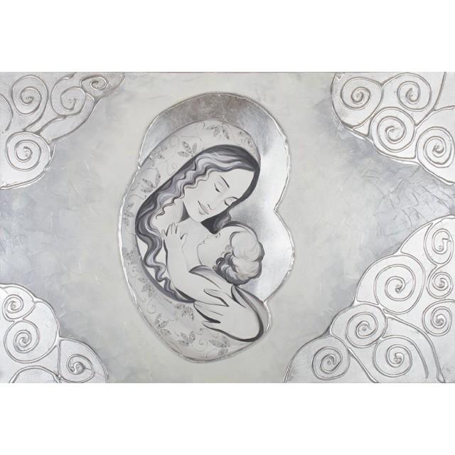 Quadro maternità con ricci in argento