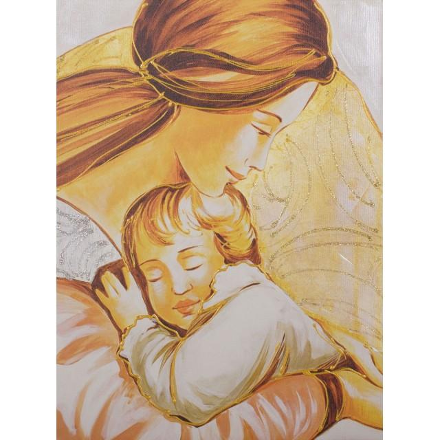 quadro maternità con cerchi in oro