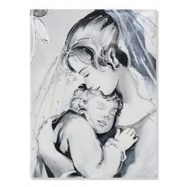 Quadro maternità con velo trasparente in argento