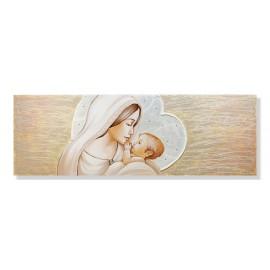 quadro maternità con fondo di cuore che da un bacio al bambino