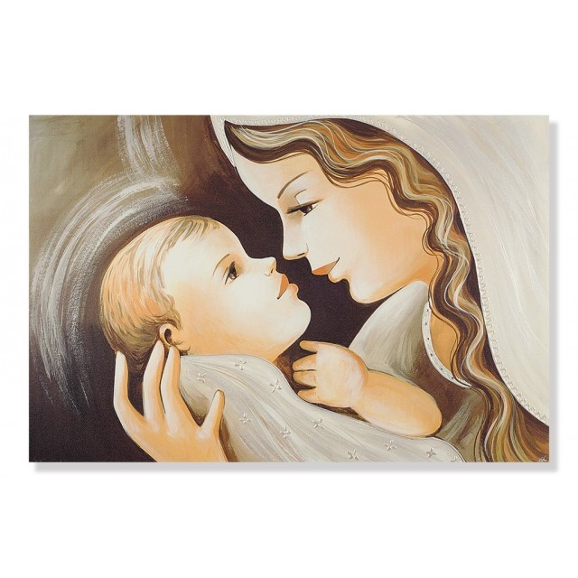 quadro maternità con bambino in mano che lo guarda