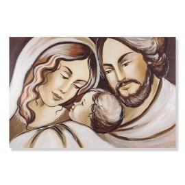 Stampa sacra famiglia marrone decori a mano