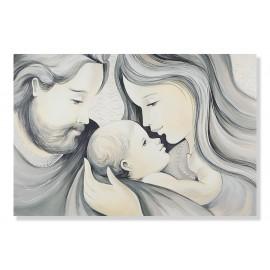 quadro sacra famiglia con fondo in avorio