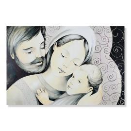 quadro sacra famiglia con ricci e fondo nero