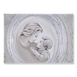 Quadro maternità con cerchi argento decori a mano
