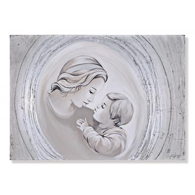 quadro maternità con cerchi in argento