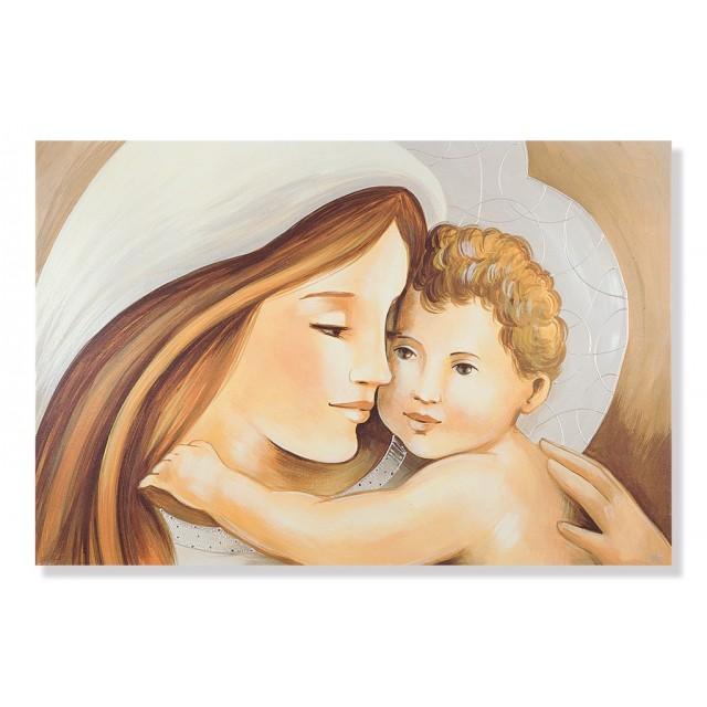 Quadro maternità con cuore e cerchi in argento