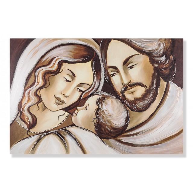 Quadro sacra famiglia in marrone