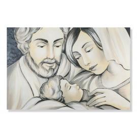 Stampa sacra famiglia fondo nero stampa decori a mano