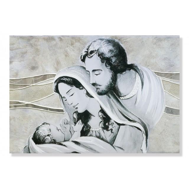 Quadro sacra famiglia in avorio-argento