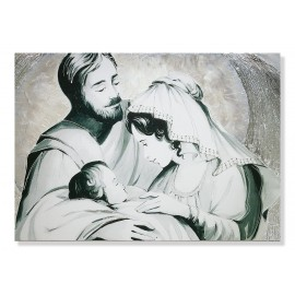 Quadro sacra famiglia parentesi argento decori a mano