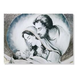 Quadro sacra famiglia con nuvola in avorio