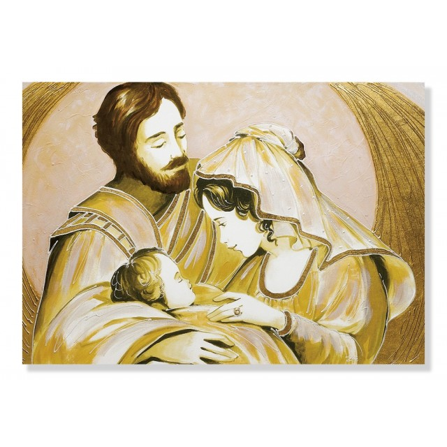 Quadro sacra famiglia parentesi oro