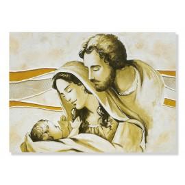 Quadro sacra famiglia in avorio-oro