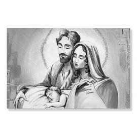 Quadro sacra famiglia argento decori a mano