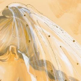 quadro maternità con velo trasparente in oro