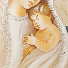 quadro maternità con pallini in argento