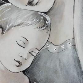 quadro maternità con cerchi in argento e avorio