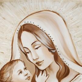 quadro maternità con raggi e parole in rilievo