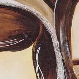 Stampa sacra famiglia marrone stampa decori a mano