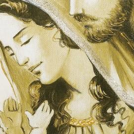 Quadro sacra famiglia con nuvola oro