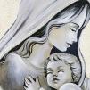 Quadro maternità con aureola in avorio