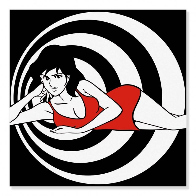 Quadro Fujiko sui cerchi bianchi-neri